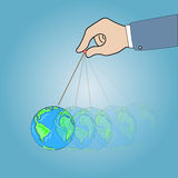 Hand with dangling globe. Concept ,Hand with dangling globe,  illustration Royalty Free Stock Photos