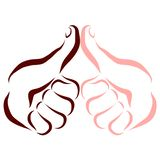 Hand of dark-skinned man and hand of fair-skinned man, thumb up.  royalty free illustration