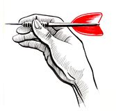 Hand with a dart arrow. Ink drawing of a hand holding a dart arrow stock illustration