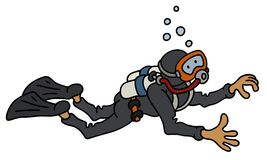 Funny diver. Hand darwing of a funny diver in a black neoprene Stock Photography
