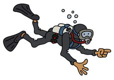Funny diver. Hand darwing of a funny diver in a black neoprene Stock Photos