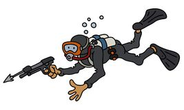 Funny diver with a harpoon. Hand darwing of a funny diver in black neoprene with the harpoon gun Royalty Free Stock Photography