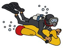 Funny diver on a scooter. Hand darwing of a funny diver on a yellow underwater vehicle Royalty Free Stock Images