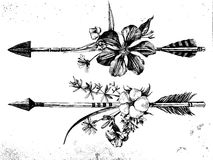 Hand darwn arrows with flowers and leaves Royalty Free Stock Photo