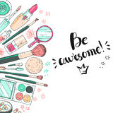 Hand darwn vector cosmetic background. Cosmetic tools and produc. Ts, perfume, lipstick, brushes, powder, blush, eye shadow, lip gloss, nail polish. Pastel royalty free illustration