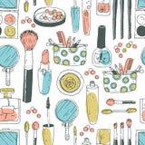 Hand darwn vector cosmetic seamless pattern. Cosmetic tools and. Products, perfume, lipstick, brushes, powder, blush, eye shadow, lip gloss nail polish Pastel stock illustration