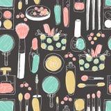 Hand darwn vector kosmetisch naadloos patroon Kosmetische hulpmiddelen en Royalty-vrije Stock Foto's