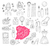 Hand darwn vector set `time for a date`. Cosmetic tools and prod Stock Photo