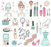 Hand darwn vector set `time for a date`. Cosmetic tools and prod Stock Images