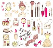 Hand darwn vector set `time for a date`. Cosmetic tools and prod Royalty Free Stock Images