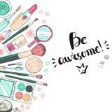 Hand-darwn Vektor-Kosmetikhintergrund Kosmetische Werkzeuge und produc lizenzfreie abbildung