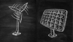 Hand dawing. Hand drawing by chalk on board in concept of Energy saving, wind turbine and solar cell Stock Images