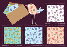 Hand Drawing Flower Pattern_eps. Illustration of hand drawing flowers pattern 4 colors with fat bird display and envelope Stock Photo