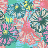Hand dawn fresh floral seamless pattern Stock Photos