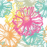 Hand dawn fresh and  vivid seamless pattern. Hand dawn fresh and  vivid floral  seamless pattern.  All objects are conveniently grouped on different layers and Stock Images
