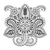 Hand de getrokken abstracte bloemen en elementen van Paisley in Indische mehnd Stock Foto's