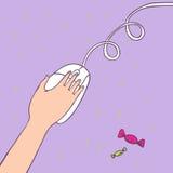In hand de muis van de computer Stock Afbeelding