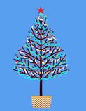 Hand decorated Christmas tree Stock Images