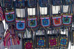 Hand decorated handbags. Small hand-decorated handbags with embroidery typical of the Moldovan tradition royalty free stock images