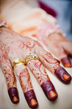 Hand Decorated with Henna. Bride's hand decorated with henna Royalty Free Stock Photo