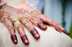 Hand Decorated with Henna. Bride's hand decorated with henna Stock Photo