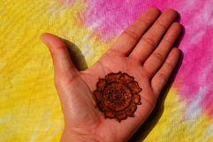 Hand decorated with henna Royalty Free Stock Image