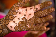 Hand decorated with henna Royalty Free Stock Photography