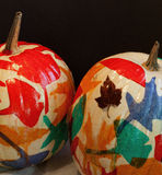 Hand-decorated Leaf Pumpkins for Halloween Royalty Free Stock Photo