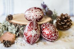 Hand decorated traditional design Slavic Easter Eggs Stock Images