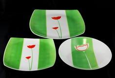 Hand dekorerad bordsservisuppsättning Royaltyfri Foto