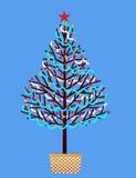 Hand dekorerad julgran vektor illustrationer