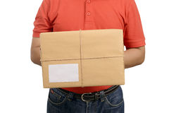 Hand Deliver A Package. Isolated over white background Stock Image