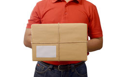 Hand Deliver A Package. Isolated over white background Stock Images