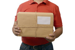 Hand Deliver A Package. Isolated over white background Royalty Free Stock Photo