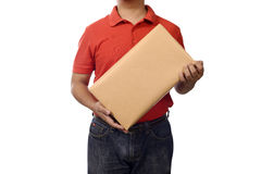 Hand Deliver A Package. Isolated over white background Stock Photos