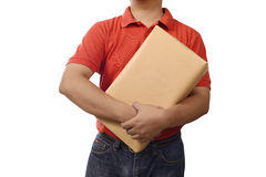 Hand Deliver A Package. Isolated over white background Stock Photo