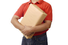 Hand Deliver A Package. Isolated over white background Stock Photography