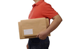 Hand Deliver A Package. Isolated over white background Royalty Free Stock Image