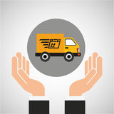 Hand delivery service fast truck graphic Royalty Free Stock Photography