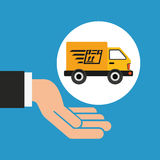 Hand delivery service fast truck graphic Royalty Free Stock Photos