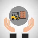 Hand delivery service forklift truck boxes graphic Royalty Free Stock Photos
