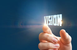 Hand demonstrates the word vision . Stock Photos