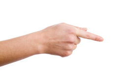Hand demonstrating gesture. Female hand demonstrating gesture on the white background Stock Photo