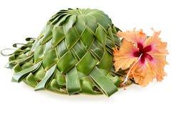 Hand - den gjorda hatten som veckas från kokosnöten, gömma i handflatan blad på vit Arkivfoton