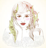 Hand den tecknade härliga kvinnan med blommor i hår Arkivbild
