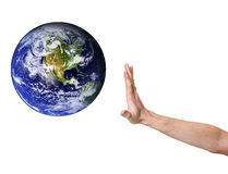 Hand denying entrance for planet earth Royalty Free Stock Photos