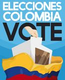 Electoral Box, Hand Voting and Colombian Flag for Elections Event, Vector Illustration. Hand depositing electoral card in voting box filled with votes, a proof Royalty Free Stock Photos