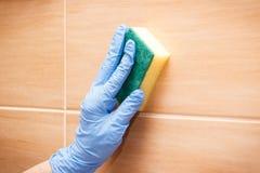 Hand der älteren Frau Badezimmerfliesen unter Verwendung des Schwammes, Haushaltsaufgabenkonzept waschend und abwischend lizenzfreies stockfoto