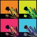Hand der kosmetischen Produkte gezeichnet Stockfoto
