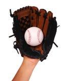 Hand des Baseball-Spielers mit dem Handschuh lokalisiert Lizenzfreie Stockbilder